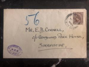 1938 Ipoh Malaya Cover To Goodward Park Hotel Singapore