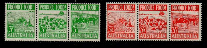 Australia Sc  252a, 255a Produce Food stamp strips of 3t mint