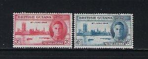 BRITISH GUIANA SCOTT #242-243 1946 PEACE ISSUE  - MINT LIGHT  HINGED
