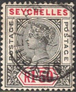 SEYCHELLES-1900 1r50 Grey & Carmine Sg 35 GOOD USED V50067