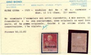 OLTRE GIUBA 1925 - 1966 GIUBILEO DEL RE CENT. 60c DENT 13 1/2 PERF  MH CERTIF...
