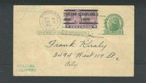 1935 Special Delivery Stamp On Postal Card UX27 Scarce W/Cleveland Precancel