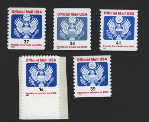 United States MINT Scott Number O158-O160 O162 O163  MNH  VF  #5  -  BARNEYS