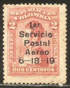 COLOMBIA SCARCE #C1 w/Cert - 1919 2c Carmine Rose