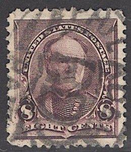 US Stamp #225 8c Sherman USED SCV $17.00. Massive stamp.