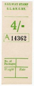 (I.B) Sligo Leitrim & Northern Counties Railway : Parcel Stamp 4/-