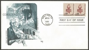 US FDC.1981 FREEDOM OF CONSCIENCE AN AMERICAN RIGHT 12C STAMPS. DALLAS,TX