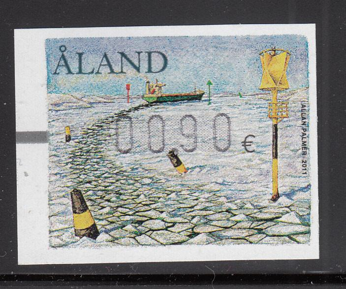 Aland 2011 MNH Postal label 90c Ship going through ice pack
