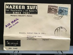 Pakistán 1955 Naeer Sufí Air Mail  to England stamps cover R31458