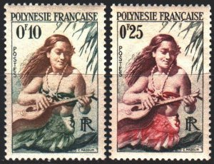 French polynesia. 1958. 1-2 from the series. Girl with a guitar. MNH.