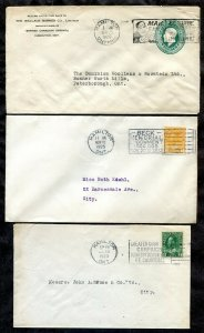 p956 - HAMILTON Lot of (3) Corner Covers with Slogan Cancels