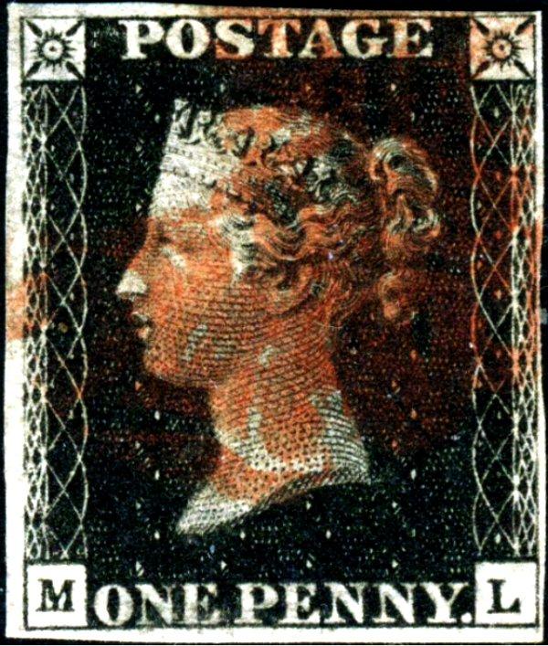 Great Britain Penny Black ML Four Margins