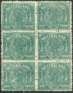 QUEENSLAND-1890 ½d Pale Green.  A mounted mint block of 4 Sg 184 (2 UM) toning
