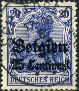 Occupation Allemande en BELGIQUE 1914 Cachet rond  SCHAERBEEK  sur Mi4.I