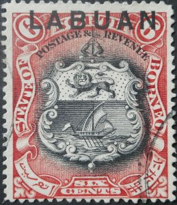 Labuan 1894 Six Cents SG 67 used