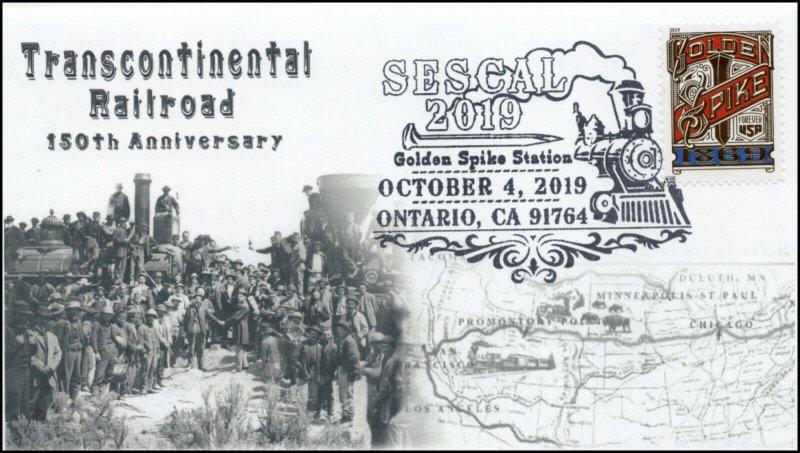 19-225, 2019, Transcontinental Railroad, Pictorial Postmark, Event Cover, Ontari
