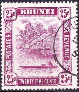 BRUNEI 1947 25c Deep Claret SG87 FU