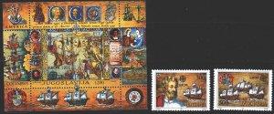 Yugoslavia. 1992. 2534-35, bl 41. Columbus, discovery of America, sailing shi...