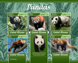 Guinea-Bissau - 2019 Giant Panda & Red Panda - 5 Stamp Sheet - GB190404a
