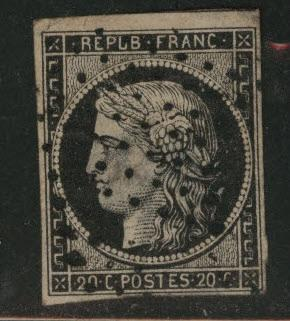 FRANCE Scott 3 Imperforate Ceres 1849  CV $45 lovely stamp but thinned