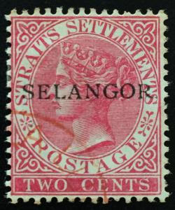 Malaya Selangor 1887 opt Straits Settlements with 'STOP' QV 2c Used SG#36 T.28