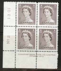 CANADA Scott 325  MNH** 1953 1c QE2 plate block