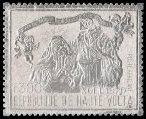 ✔ UPPER VOLTA 1970 AIRMAIL CHRISTMAS SILVER FOIL - MI. 316  ** MNH