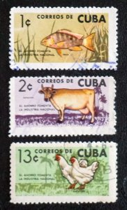 Cuba Sc# 838-840  NATIONAL INDUSTRY fish cow chickens CPL SET of 3 1964 used cto