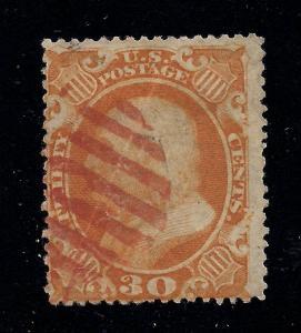 US#38 Orange - Red Grid Cancel - Cat:$475.00