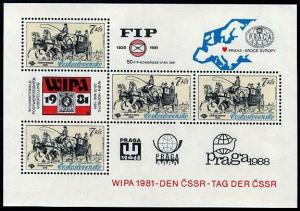 HERRICKSTAMP CZECHOSLOVAKIA Sc.# 2347A Carriage Souvenir Sheet MI BL 44 €30