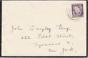 Ireland Sc 113 on 1952 Mourning Cover to New York