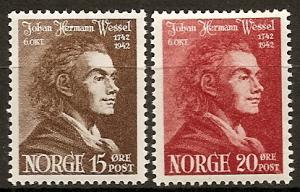 Norway  251-52 MNH 1942 Johan Herman Wassel, Author
