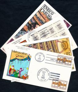 (4) DIFFERENT MUSICAL FDC HAND PAINTED CACHET BY COLLINS BQ4404