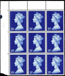 1969 Sg 789 10s Foncé Outremer Machin Haute Valeur Bloc De 9 non Montés Mint