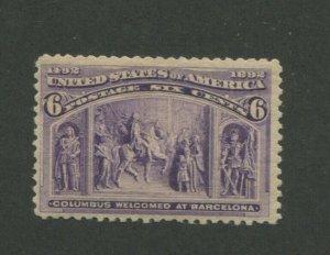 1893 United States Postage Stamp #235 Mint Never Hinged F/VF Original Gum