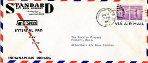 U.S. Scott 901 (2) on 2-Color Ad Airmail Cover for Standard Dry Kiln w/XMAS Seal