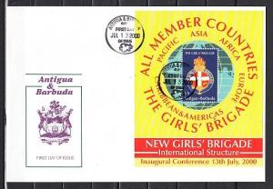 Antigua, Scott cat. 2372. Girl Scouts s/sheet. First day cover.