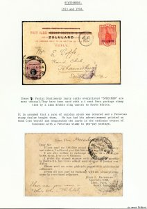 Peru Zululand Specimen Stationary Card to South Africa Stamp Dealers Business Mo