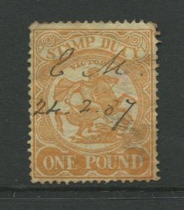 STAMP STATION PERTH: Australia Victoria #? Used 1879? Single 1 Pound Stamp