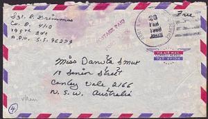USA VIETNAM WAR 1969 military cover to Australia............................6370