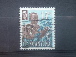 TANGANYIKA, 1961, used 15c, Coffee picker.. Scott 47