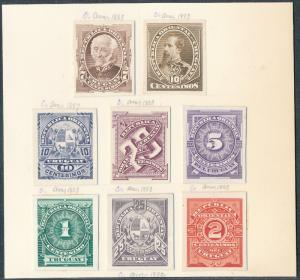 URUGUAY #57P3 // #70P3 (8) DIFF. ABNCo XF-SUPERB PLATE PROOFS ON INDIA HV5322