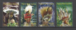 Papua New Guinea MNH 1319-22 Headdresses 2008 AWESOME!!!!