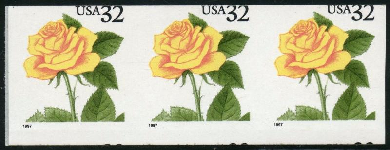#3054a YELLOW ROSE STRIP OF 3 IMPERF AND MISCUT MAJOR ERRORS CV $127 BT9547