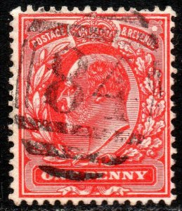 1902 Sg 220 M5/2 1d bright scarlet with 84 Canterbury Duplex Cancellation