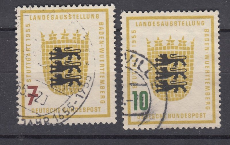 J28710, 1955 germany set used #729-30 coat of arms