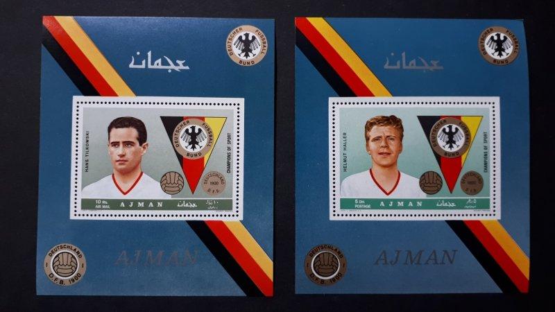 Sport - Football players - Ajman 1969. ** MNH 2x Bl