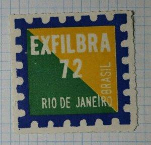 EXFILBRA 1972 Rio De Janeiro Philatelic Souveinir Ad Label