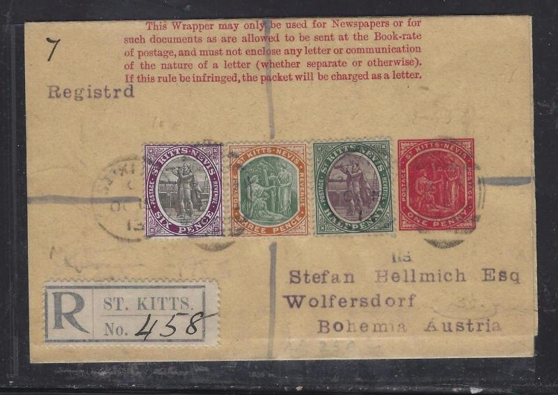 ST KITTS PS WRAPPER  (P1108B) 1913 UPRATED 6D+3D+1/2D COLUMBUS  REG TO AUSTRIA