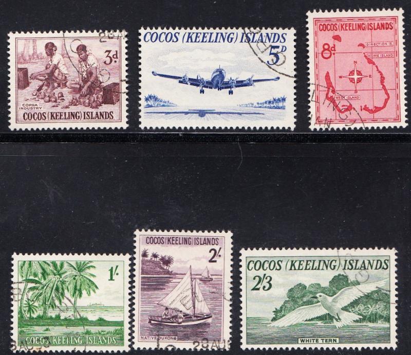 COCOS KEELING ISLANDS # 1-6 used  -  SG1-6